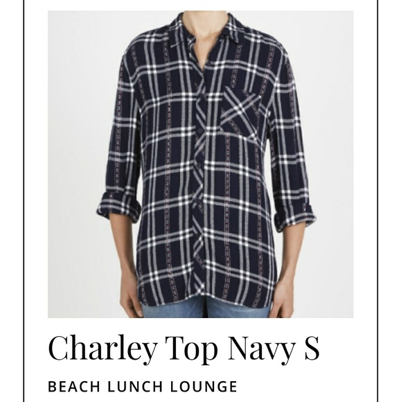 62e10397a8 Beach Lunch Lounge Tops - Beach Lunch Lounge Charley L/S Plaid Button down